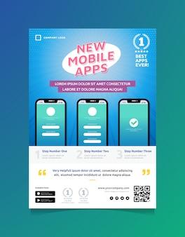 Szablon ulotki promocyjnej aplikacji mobilnych