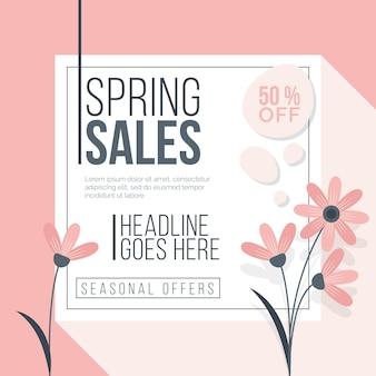 Szablon ulotki promocyjnej wiosennej sprzedaży