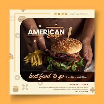 Szablon ulotki pub amerykańskiej żywności