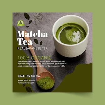 Szablon ulotki pysznej herbaty matcha w kwadraty