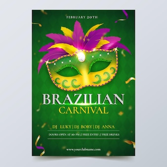 Szablon ulotki realistyczny brazylijski karnawał