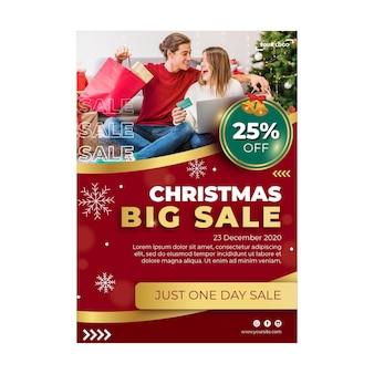 Szablon ulotki reklamowej świątecznej sprzedaży