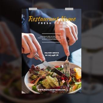 Szablon ulotki restauracji zdrowej żywności ze zdjęciem
