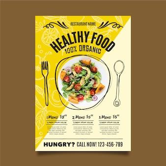 Szablon ulotki restauracji zdrowej żywności