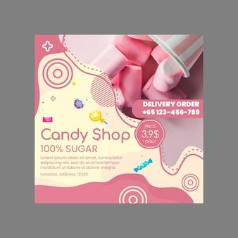 Szablon ulotki sklep ze słodyczami w kwadraty