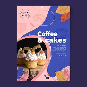 Szablon ulotki sklepu z kawą i ciastami