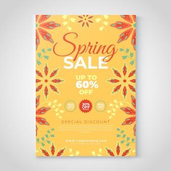 Szablon ulotki sprzedaż wiosna kwiatowy