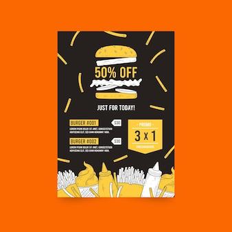Szablon ulotki sprzedaży hamburgerów