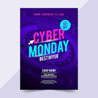 Szablon ulotki sprzedaży w cyber poniedziałek