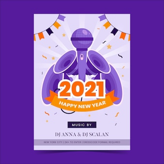 Szablon ulotki strony nowego roku 2021 w płaskiej konstrukcji