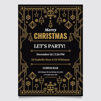 Szablon ulotki świąteczne przyjęcie w stylu konspektu