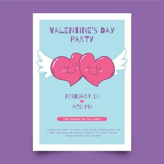 Szablon ulotki valentine i serca ze skrzydłami