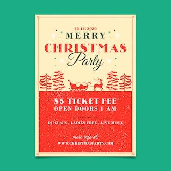 Szablon ulotki vintage christmas party