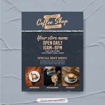Szablon ulotki w kawiarni premium, szablon menu kawy, plakat kawowy, ulotka z kawą