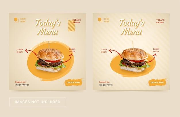 Szablon ulotki w mediach społecznościowych dla burgera z jedzeniem