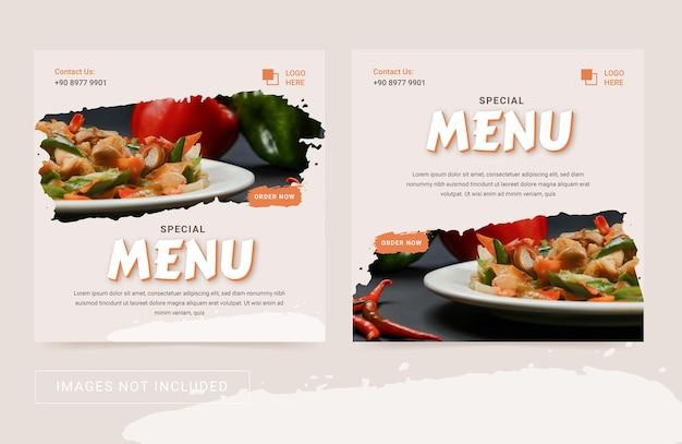 Szablon ulotki w mediach społecznościowych dla kulinarnych potraw