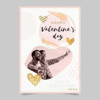 Szablon Ulotki Walentynkowej Ze Zdjęciem Premium Wektorów