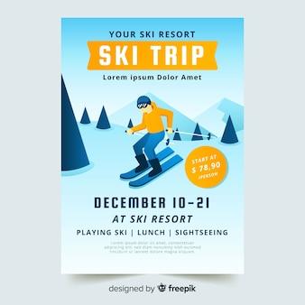Szablon ulotki wyjazd narciarski