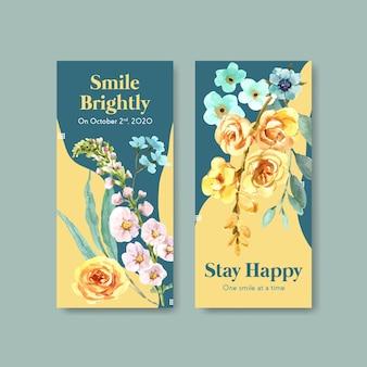 Szablon ulotki z bukietem kwiatów dla koncepcji światowego dnia uśmiechu do broszury i marketingowej ilustracji wektorowych akwarela.
