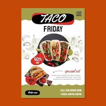 Szablon ulotki z ceną taco piątek rabat .