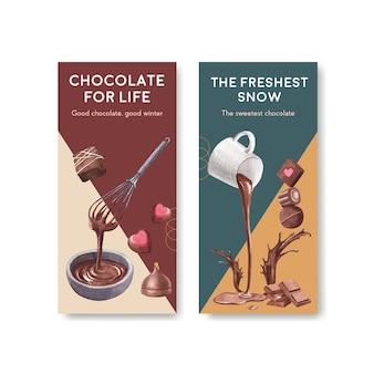 Szablon ulotki z czekoladowym zimowym projektem koncepcyjnym broszury i ulotki ilustracji wektorowych akwarela