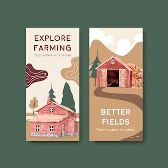 Szablon ulotki z ilustracji akwarela projekt ekologicznej koncepcji gospodarstwa.