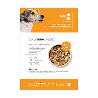 Szablon ulotki z jedzeniem dla zwierząt
