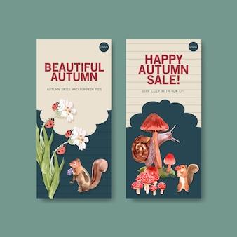 Szablon ulotki z jesiennym lasem i zwierzętami