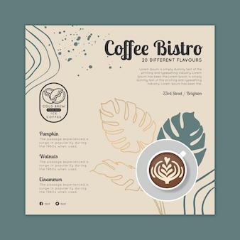 Szablon ulotki z kawą bistro do kwadratu