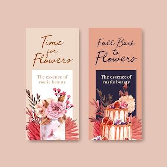 Szablon ulotki z koncepcją jesiennego kwiatu dla broszury i ulotki