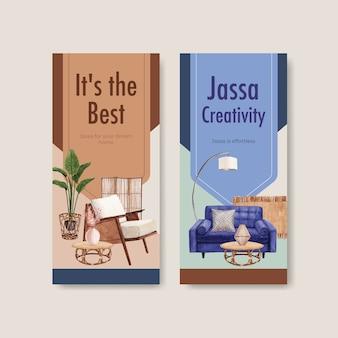 Szablon ulotki z koncepcją mebli jassa dla ilustracji wektorowych akwarela broszury i ulotki
