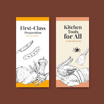 Szablon ulotki z koncepcją urządzeń kuchennych dla ilustracji wektorowych broszury