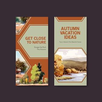 Szablon ulotki z krajobrazem w jesiennym designie