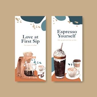 Szablon ulotki z międzynarodowym projektem koncepcyjnym dnia kawy do reklamy i broszury akwarela
