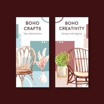 Szablon ulotki z projektem koncepcyjnym mebli boho dla ilustracji akwarela broszury i ulotki