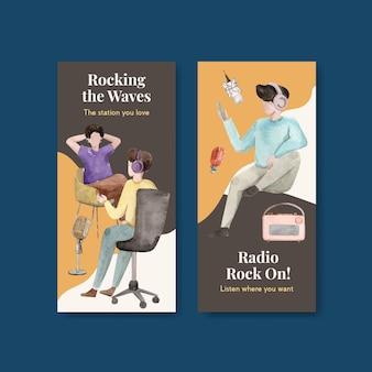 Szablon ulotki z projektem koncepcyjnym światowego dnia radia dla ilustracji akwarela broszury i ulotki