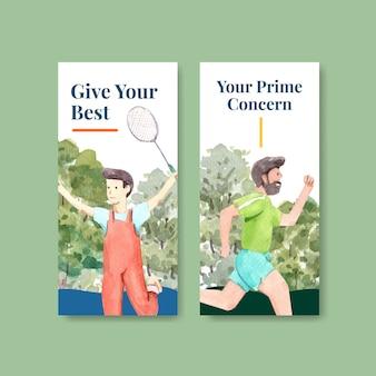 Szablon ulotki z projektem koncepcyjnym światowego dnia zdrowia psychicznego dla broszury i ulotki akwarela