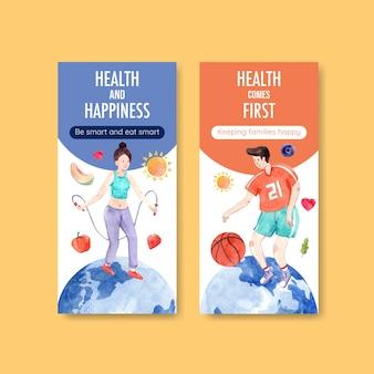 Szablon ulotki z projektem koncepcyjnym światowego dnia zdrowia psychicznego