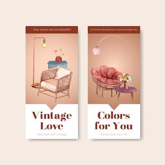 Szablon ulotki z terakotowym wystrojem koncepcyjnym dla broszury i marketingowej ilustracji wektorowych akwarela