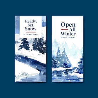 Szablon ulotki z zimową wyprzedażą broszury w stylu przypominającym akwarele