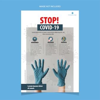 Szablon ulotki zatrzymania covid-19 z niebieskimi rękawiczkami