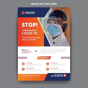 Szablon ulotki zdrowia medycznego coronavirus covid-19