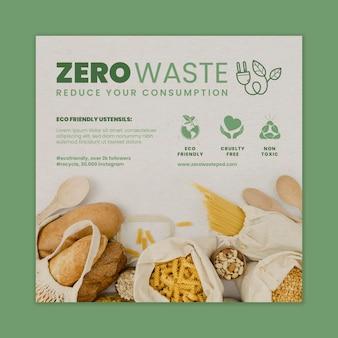 Szablon Ulotki Zero Odpadów W Kwadraty Premium Wektorów