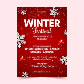 Szablon ulotki zimowego festiwalu