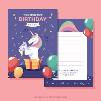 Szablon urodzin z ładnym jednorożcem