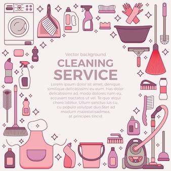 Szablon usługi sprzątania z ramą na artykuły do czyszczenia gospodarstwa domowego