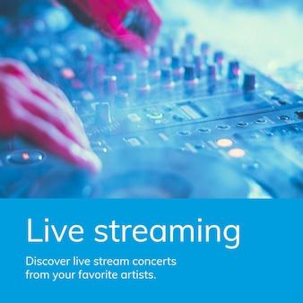 Szablon usługi strumieniowego przesyłania muzyki reklama w mediach społecznościowych