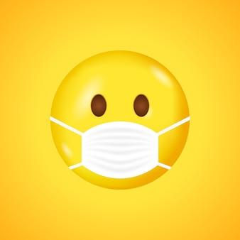 Szablon uśmiech z maską na usta. buźka w białej medycznej masce chirurgicznej. koronawirus.