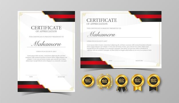 Szablon uznania dla certyfikatu w kolorze czerwonym i czarnym