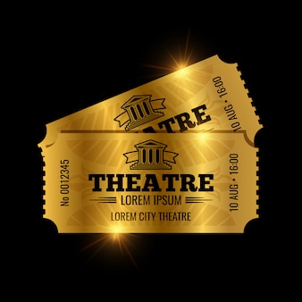 Szablon vintage bilety do teatru. złote bilety na białym tle